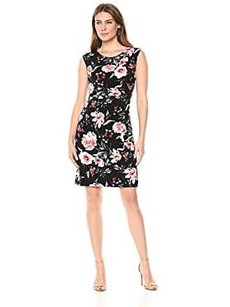 Ivanka Trump Womens Cap Sleeve Solid Side Ruched Dress, Black/Multi XL