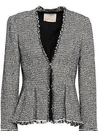 Rebecca Taylor Rebecca Taylor Woman Frayed Cotton-blend Tweed Peplum Jacket Midnight Blue Size 6