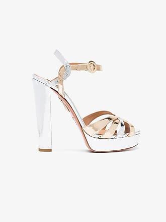 Aquazzura Metallic Love Affair Plateau 130 leather sandals