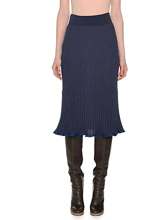f38f859a08 Agnona Ribbed A-Line Below-Knee Pull-On Wool-Blend Skirt