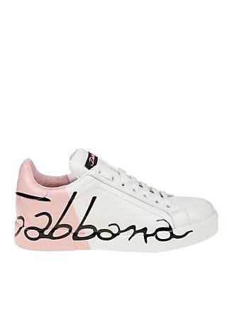 Dolce   Gabbana Sneaker Portofino in nappa bianca e rosa 9301d739622