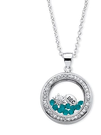 PalmBeach Jewelry 46 TCW Birthstone and CZ Floating Charm Pendant MADE WITH SWAROVSKI ELEMENTS in Silvertone - December- Simulated Blue T