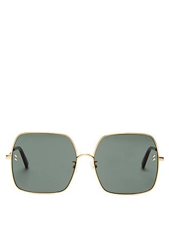 288a2d6885 Stella McCartney Stella Mccartney - Oversized Square Frame Metal Sunglasses  - Womens - Green Gold