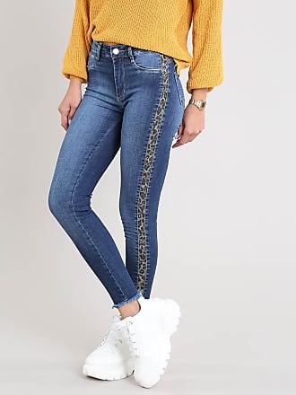 Sawary Calça Jeans Feminina Sawary Cigarrete com Faixa Lateral Animal Print Azul Escuro