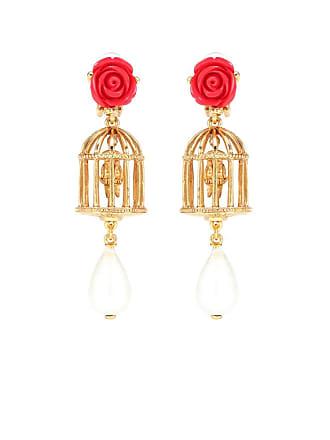 Oscar De La Renta Birdcage clip-on earrings