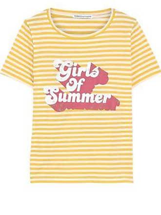 Rebecca Minkoff Rebecca Minkoff Woman Printed Striped Cotton-jersey T-shirt Yellow Size M