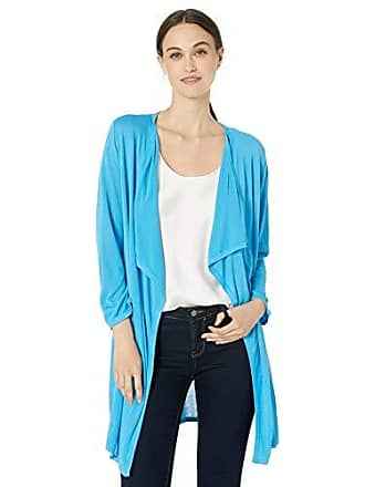 Kasper Womens 3/4 Sleeve Long Cardigan with Side Slits, Ocean, XL