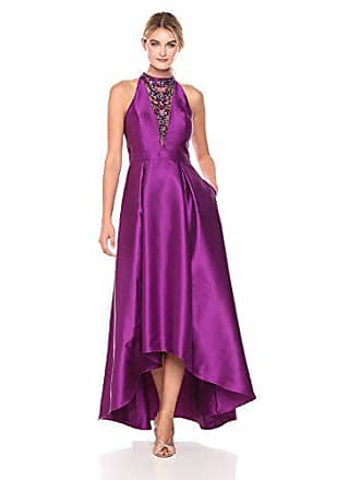 Adrianna Papell Womens Mikado High Low Gown, Ultra Berry, 2
