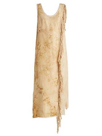 By Walid Sharon Antique Silk Blend Slip Dress - Womens - Beige