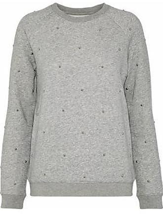 Zoe Karssen Zoe Karssen Woman Studded Mélange Cotton-blend Fleece Sweatshirt Gray Size XS