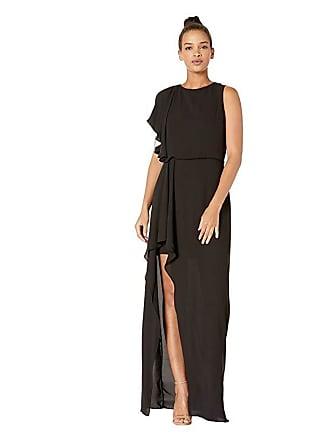 e8e23f6e3d18 Halston Heritage Flowy One Shoulder Gown with Flounce Drape Skirt  (Black/Chalk) Womens