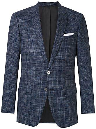 HUGO BOSS Blazer tweed com abotoamento - Azul
