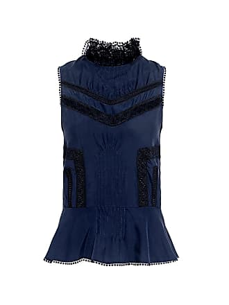 Derek Lam Pintucked Silk Peplum Blouse Midnight
