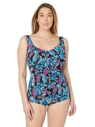 f676737e56 Maxine Of Hollywood Womens Plus-Size Shirred Front Girl Leg One Piece  Swimsuit