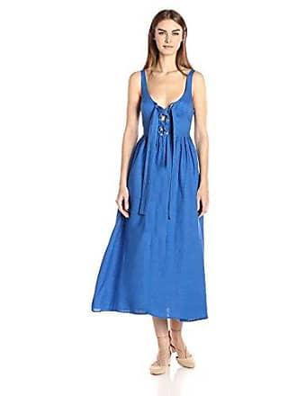 Mara Hoffman Womens Lace Up Midi Dress, Cobalt, 2