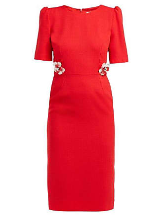 Goat Hush Floral Embellished Wool Crepe Midi Dress - Womens - Red