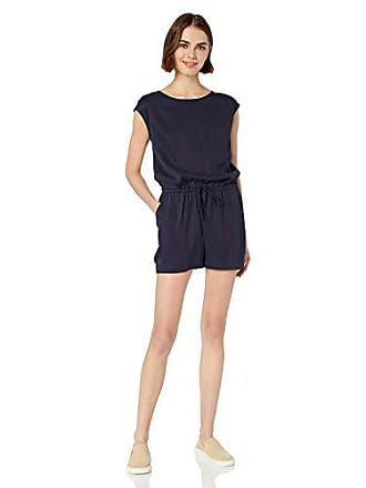 Daily Ritual Womens Tencel Short-Sleeve Romper, Navy, 4