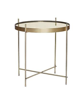 Hübsch Soffbord runt tonat glas/ guld, hubsch