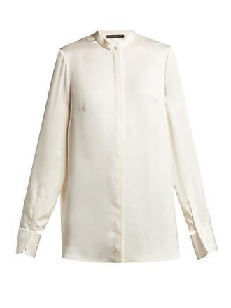 fa23854c4ed06b Alexander McQueen Alexander Mcqueen - Silk Satin Long Sleeved Blouse -  Womens - Ivory