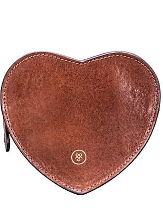 Maxwell Scott Maxwell Scott - Luxury Tan Leather Heart-shaped Handbag Tidy