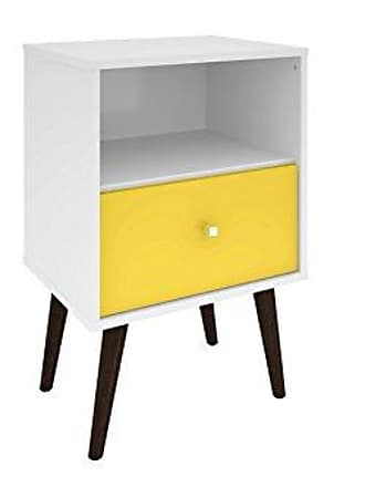 Manhattan Comfort Liberty Collection Mid Century Modern Nightstand With One Open Shelf and One Drawer, Splayed Legs, White/Yellow