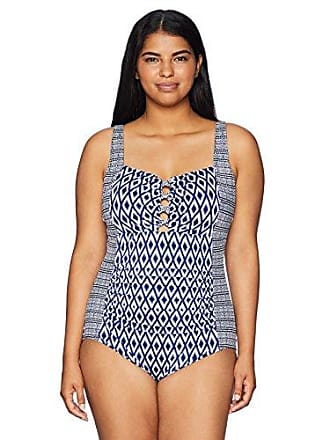 2333ef00687 Coastal Blue Womens Plus Size Control Swimwear Lattice Detail One Piece  Swimsuit