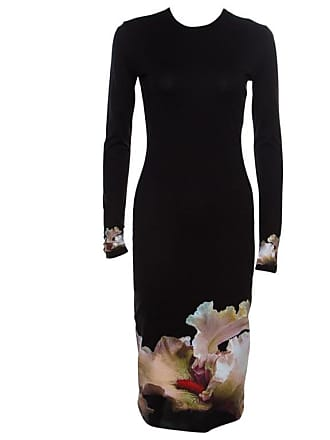57d1df0a7b Givenchy Black Floral Printed Jersey Long Sleeve Bodycon Dress M. In high  demand
