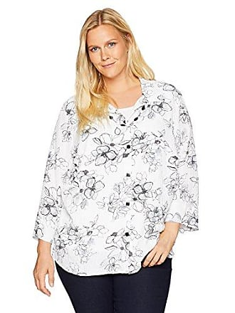 ed54b34ded89f Alfred Dunner Womens Plus-Size Etched Floral Print Two for one top
