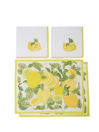 Loretta Caponi Set Of Two Embroidered Linen Napkins And Placemats - Yellow Multi