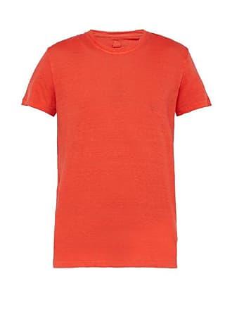 120% Lino Slubbed Linen Crew Neck T Shirt - Mens - Red