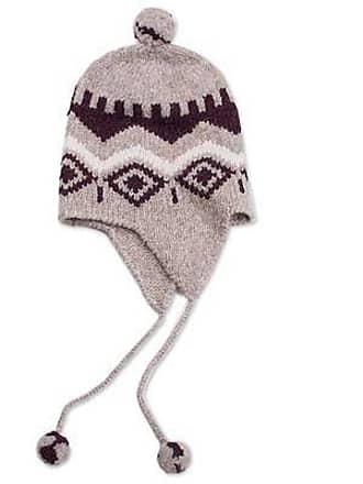 Novica Alpaca blend chullo hat, Burgundy Miski Wayra