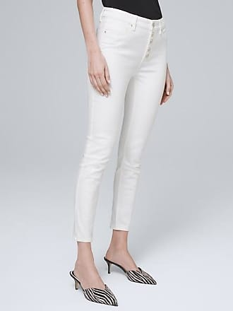 White House Black Market Womens High-Rise Button-Fly Skinny Crop Jeans by White House Black Market, White, Size 00 - Regular