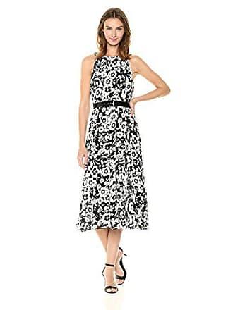 18469ab86cc Tommy Hilfiger Womens Coin TOSS Chiffon Long Dresses, Black/Ivory, 12