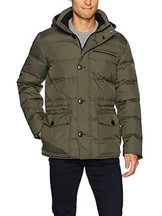 Kenneth Cole Mens Hooded Down Parka, Juniper, X-Large