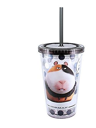 Universal Works Silver Buffalo PT12087 Universal Polka Dot The Secret Life of Pets Norman Plastic Cold Cup with Lid and Straw, 16-Ounces