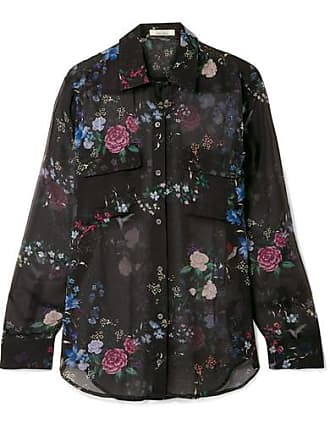 Equipment + Tabitha Simmons Signature Floral-print Silk-chiffon Shirt - Black
