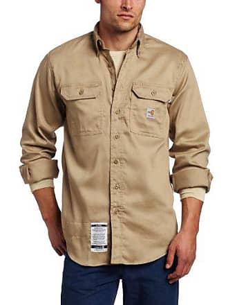 Carhartt Work in Progress Mens Big & Tall Flame Resistant Lightweight Twill Shirt,Khaki,X-Large Tall