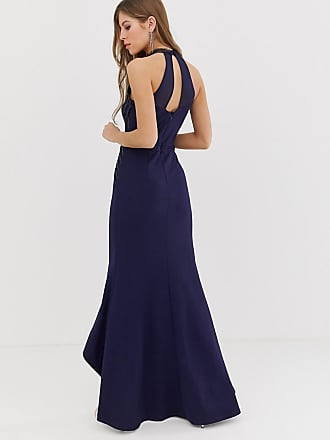 6354d867a1b Lipsy high neck maxi dress with lace placement in navy - Navy