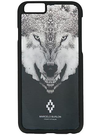 Marcelo Burlon Capa para iPhone 6 com estampa de lobo - Preto
