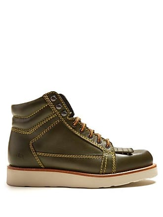 J.W.Anderson Jw Anderson - Contrast Stitch Leather Boots - Womens - Khaki