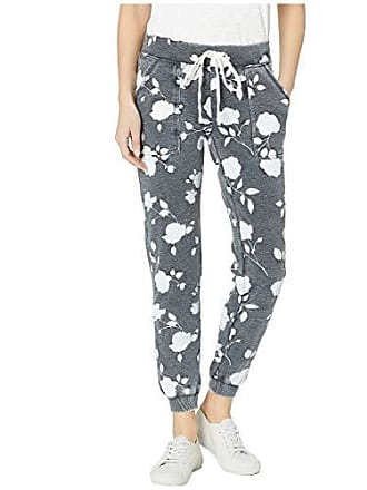 Alternative Womens Long Weekend Printed Burnout French Terry Pants, Washed Black Shadow Rose, Medium