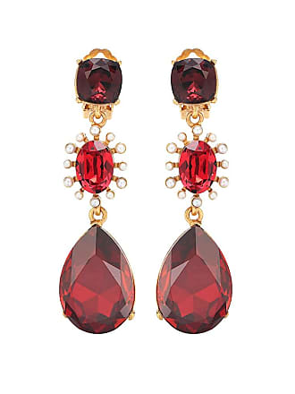 Oscar De La Renta Swarovski crystal and faux pearl clip-on earrings