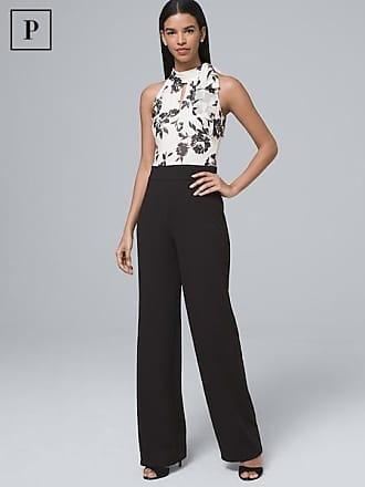White House Black Market Womens Petite Floral-Bodice Halter Jumpsuit by White House Black Market, Black/Ecru, Size 10