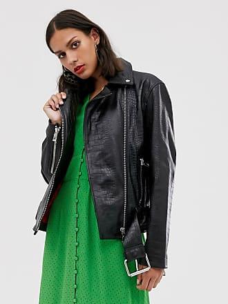Whistles adriana leather croc biker jacket-Black