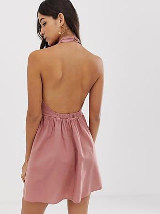 59c1ffbee6 Asos halter neck mini button through linen sundress with buckle - Pink