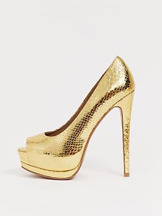 031eecfc9235f1 Asos Playful - Chaussures à semelle plateforme et talon haut - Serpent doré  - Doré