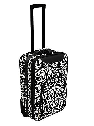 World Traveler 20 Inch Rolling Carry-On Luggage Suitcase, Black Trim Damask, One Size