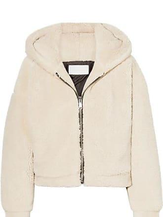 Re/Done Cropped Hooded Faux Fur Jacket - Beige