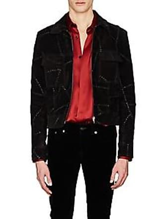 d444f4fbed1 Saint Laurent Mens Whipstitched Suede Shirt Jacket - Black Size 48 EU