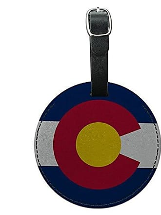 Graphics & More Graphics & More Colorado State Flag Round Leather Luggage Id Tag Suitcase Carry-on, Black